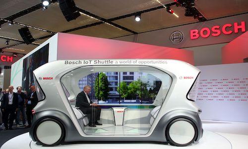 A Bosch shuttle car at the International Motor Show in Frankfurt in September 2019.